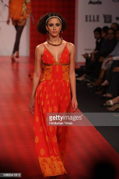 A model displays a creation by designer Ritu Kuma during the Wills Lifestyle India Fashion Week on October 15 2008 in New Delhi India