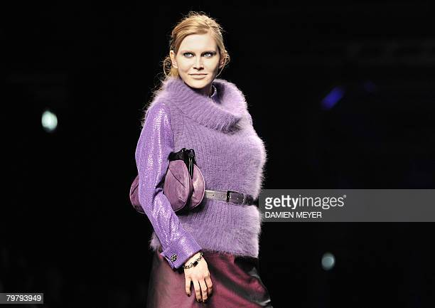 A model displays a creation by Italian fashion designer Elena Miro during the Autumn/Winter 2008/2009 women's collections at Milan Fashion Week on...