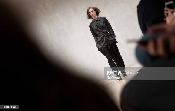 A model displays a creation by Konsanszky at MercedesBenz Fashion Week Budapest Fall/Winter on Apr 1 2017 at Ludwig Museum in Budapest Hungary