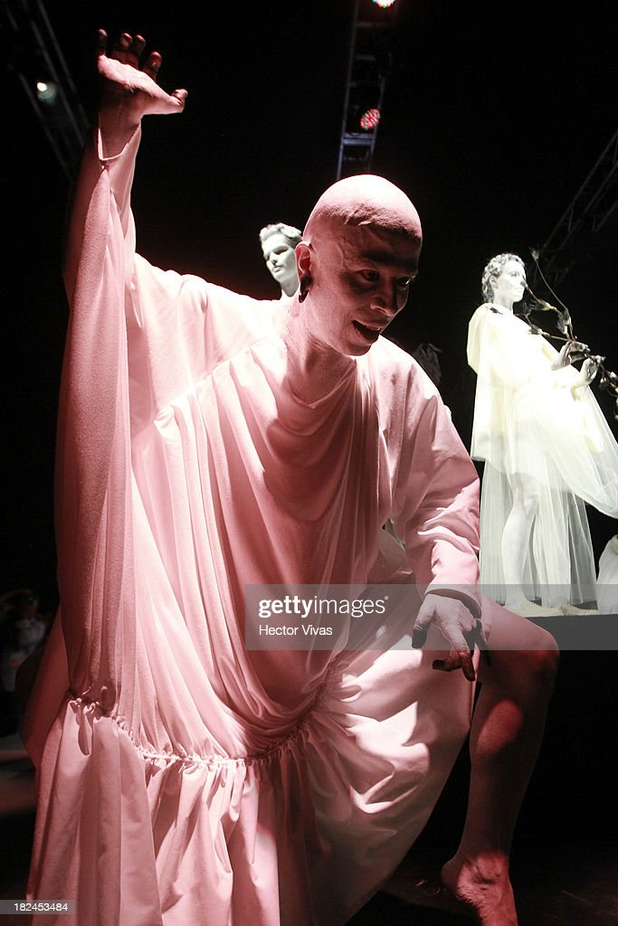 A model displays a creation by Malafacha during the Mercedes Benz Fashion Week Mexico 2013 on September 29, 2013 in Mexico City, Mexico.