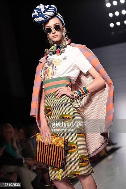 A model displays a creation by Stella Jean during It's Ethical Fashion 'Bring Africa to Rome' catwalk collection S/S 2014 fashion show as part of...