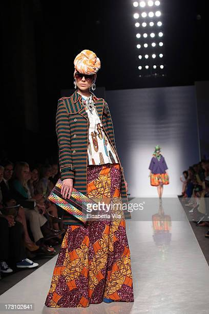 Model displays a creation by Stella Jean during It's Ethical Fashion 'Bring Africa to Rome' catwalk collection S/S 2014 fashion show as part of...