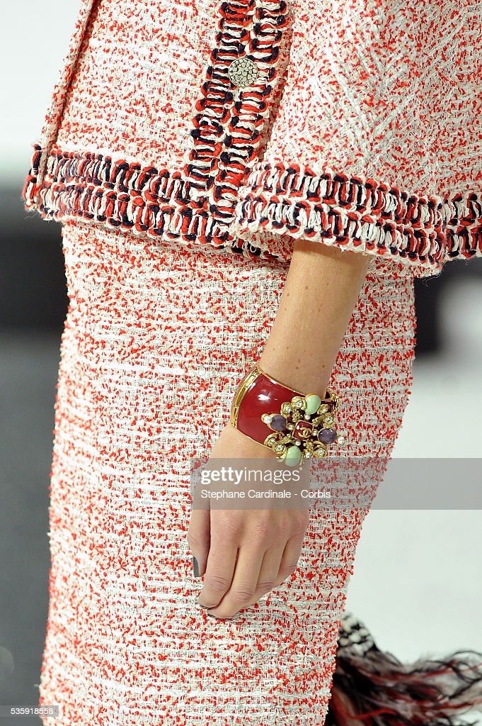 A model displays a creation from Chanel show as part of Paris Fashion Week Spring/Summer 2011 at the 'Grand Palais' in Paris.