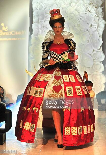 A model displays a creation inspired by the Queen of Hearts made of sugar in Washington on May 11 2009 during a fashion show as part of the 8th...
