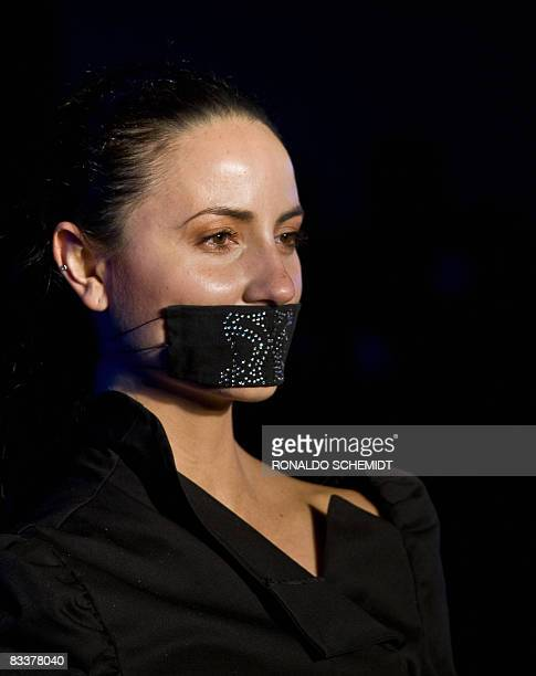 A model displays a creation of Foundation Ellen West against anorexia during the second day of the Fashion Week in Mexico City on October 21 2008 AFP...