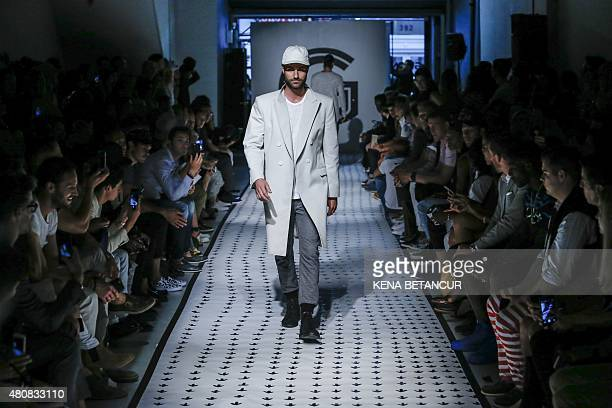 A model displays a creation of Grungy Gentleman during the New York Fashion Week Men's in New York on July 15 2015 AFP PHOTO/KENA BETANCUR