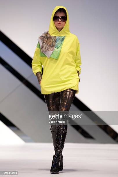 A model displays a creation of I Hsuan Chen on the catwalk during the International Fashion Designers' Show II as part of the Hong Kong Fashion Week...