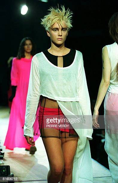 Model displays a creation of Japanese designer Yohji Yamamoto during the presentation of the 1994 spring-summer ready-to-wear collection, shown 09...