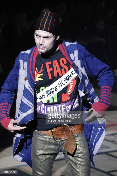 Model displays a creation of Vivienne Westwood Fall-Winter 2010-2011 Menswear collection on January 17, 2010 during the Men's fashion week in Milan....