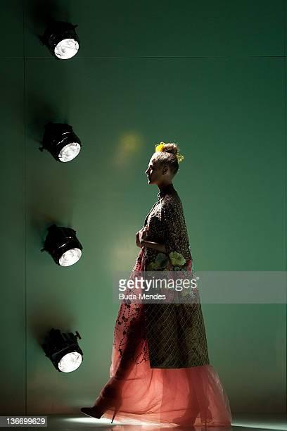 A model displays a design by Acquastudio during the Fashion Rio Winter 2012 at Pier Maua on January 10 2012 in Rio de Janeiro Brazil