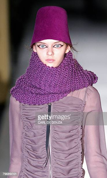 A model displays a design by fashion designer Biba during the first show of the Autumn/Winter 2008 London Fashion week on February 10 2008 AFP...
