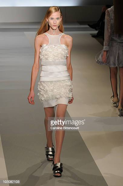 A model displays a design by Gloria Coelho during the sixth day of the Sao Paulo Fashion Week Summer 2011 at Iguatemi Mall on June 14 2010 in Sao...