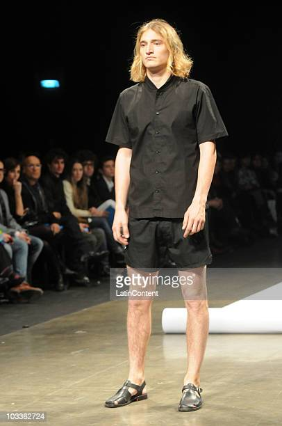 Model displays a design by Hermanos Estebecorena during the second day of Buenos Aires Fashion Week on August 12, 2010 in Buenos Aires, Argentina.