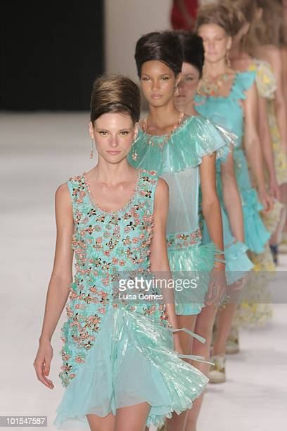 Model displays a design by Isabela Capeto during the sixth day of Fashion Rio Summer 2011 at Pier Maua on June 01, 2010 in Rio de Janeiro, Brazil.