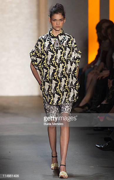 A model displays a design by Patachou during the Fashion Rio Summer 2012 at Pier Maua on May 30 2011 in Rio de Janeiro Brazil