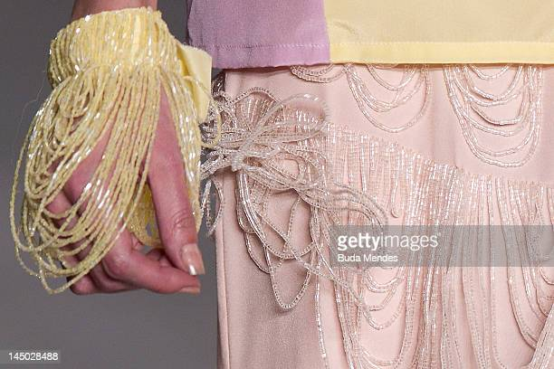 A model displays a design by Patachou during the Fashion Rio Summer 2012/2013 at Jockey Club on May 22 2012 in Rio de Janeiro Brazil