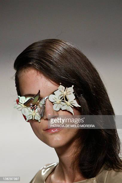 A model displays a Spring/Summer 2012 creation by Portuguese fashion designer Alexandra Moura during the 37th Edition of Moda Lisboa at Patio da Gale...