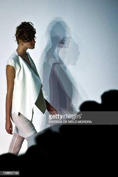 A model displays a Spring/Summer 2012 creation by serbian fashion designer Aleksandar Protic during the 37th Edition of Moda Lisboa at Patio da Gale...