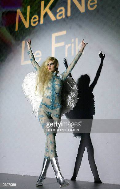 A model displays an outfit by Spanish designer Nekane at the Pasarela Gaudi fashion show 04 February 2004 in Barcelona AFP PHOTO Christophe SIMON