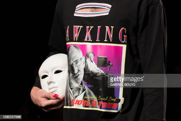 Model displays an outfit depicting English scientist Stephen Hawking, of Spanish brand Brain & Beast's Autumn/Winter 2019 collection during the...