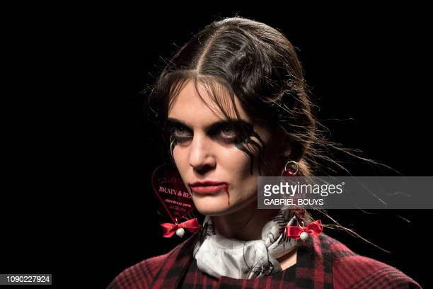 A model displays an outfit of Spanish brand Brain Beast's Autumn/Winter 2019 collection during the Madrid's Mercedes Benz Fashion Week on January 27...