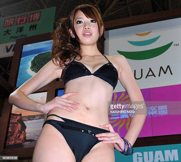 A model displays bikini swimwear from a collection by Japanese apparel giant Sanai during a swimwear show hosted by Guam Visitors Bureau at the World...