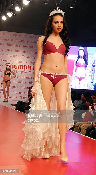 A model displays creations at a Triumph' fashion show 2015 in Mumbai late May 18 2015 AFP PHOTO/STR