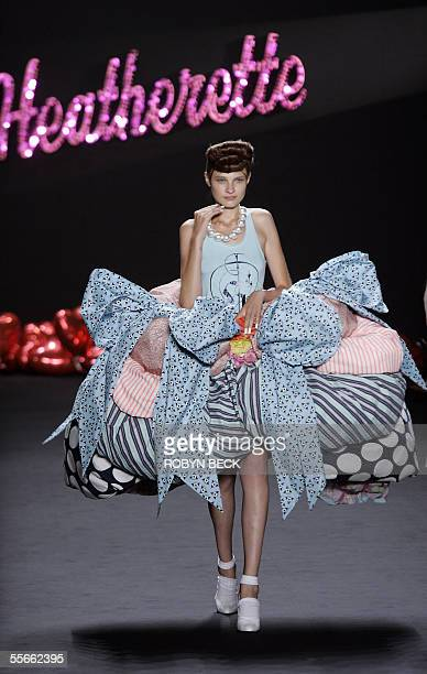 A model displays design from Heatherette at the Spring 2006 show 16 September 2005 during the Olympus Fashion Week at Bryant Park in New York City...