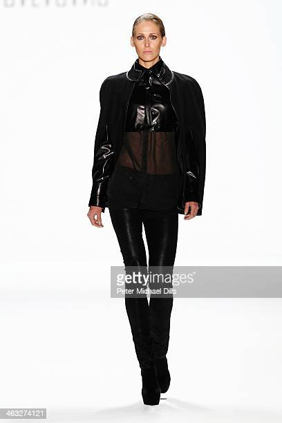 A model displays fashion of David Anderson at the Balagans David Andersen Indra Salcevica Baltic Fashion Catwalk show during MercedesBenz Fashion...