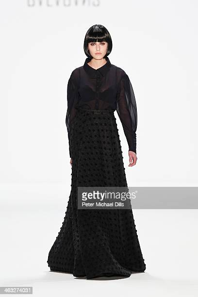 A model displays fashion of Indra Salcevica at the Balagans David Andersen Indra Salcevica Baltic Fashion Catwalk show during MercedesBenz Fashion...