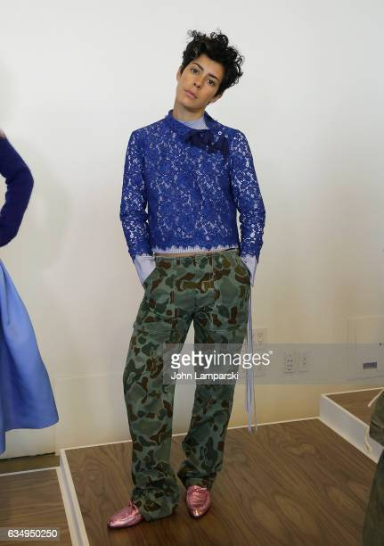 A model displays fashions during the JCrew presentation on February 2017 New York Fashion Week at Spring Studios on February 12 2017 in New York City