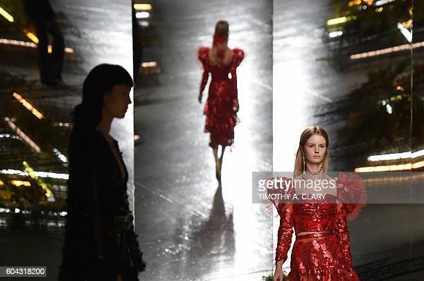 TOPSHOT A model displays fashions during the Rodarte SpringSummer 2017 Runway show at New York Fashion Week in New York on September 13 2016 / AFP /...