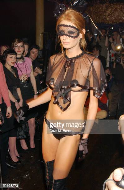 A model displays lingerie at the Agent Provocateur 10th Anniversary Party and fashion show at Cafe de Paris on February 14 2005 in London