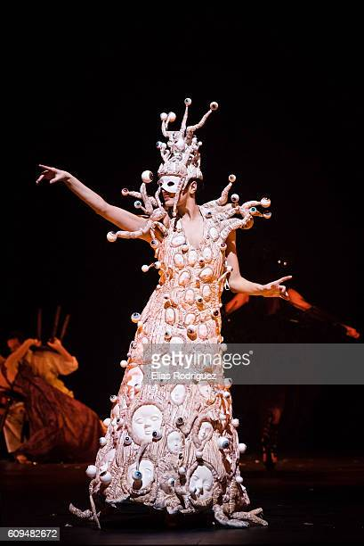 Model displays 'Looking Up the Family Tree' by Yu Tan in the Creative Excellence Section during the World of WearableArt Awards Charity Show 2016 on...