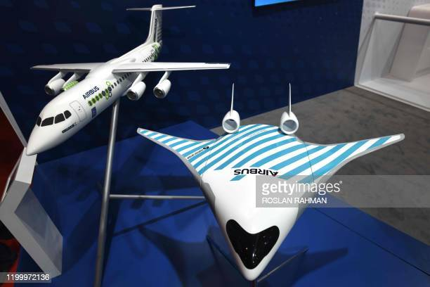 Model displays of Airbus planes are seen at the Singapore Airshow in Singapore on February 11 2020