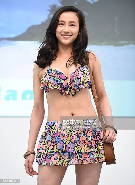 A model displays swimwear during the beach resort swimwear show as part of the Marine Diving Fair in Tokyo on April 1 2016 / AFP / TORU YAMANAKA