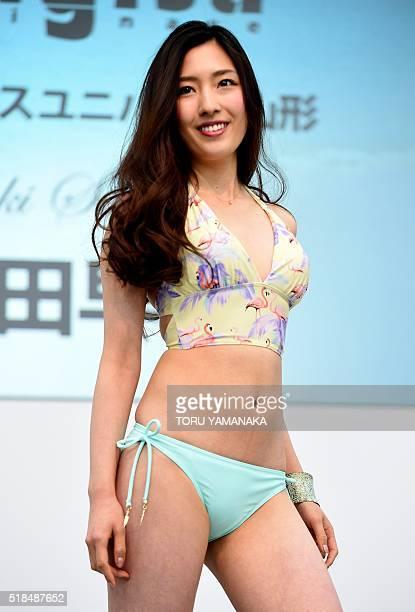 A model displays swimwear during the beach resort swimwear show as part of the Marine Diving Fair in Tokyo on April 1 2016 / AFP / TORU YAMANAKA