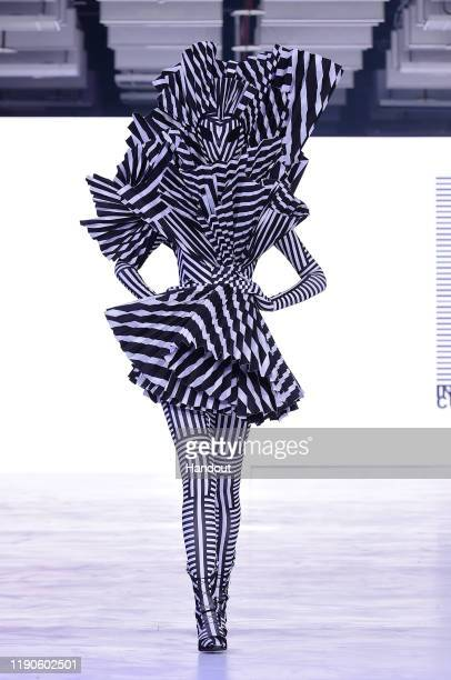 A model displays the designs during the SABRA ANDRE show during the Taipei Fashion Week SS20 on October 09 2019 in Taipei Taiwan