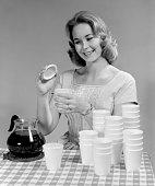 model demonstrating polystyrene coffee cups photo