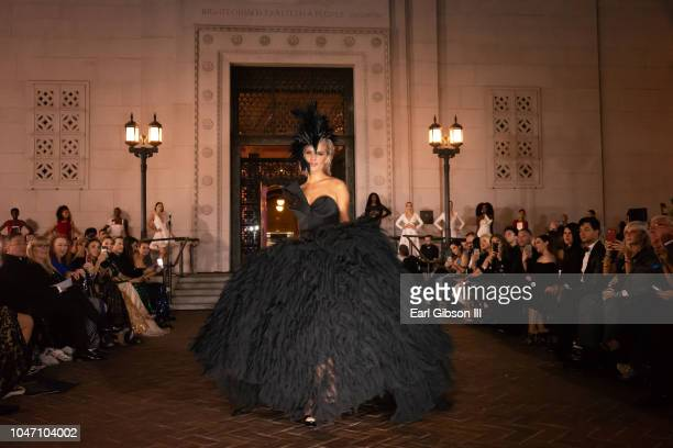 Model displays the latest in Spring Fashion at the Metropolitan Fashion Week's Closing Gala And Fashion Awards at Los Angeles City Hall on October 6...