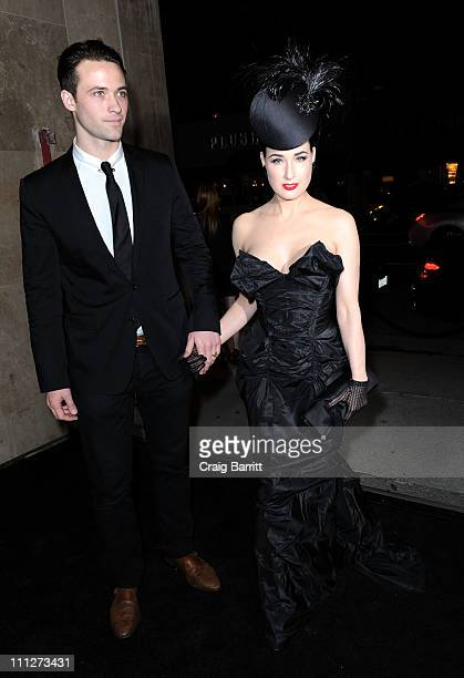 Model Dita Von Teese and Count Marie Louis de Castelbajac attend the Vivienne Westwood Los Angeles Store Opening on March 30 2011 in Los Angeles...