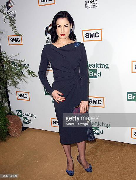 Model Dita Von Teese arrives at the Premiere Screening of AMC's new Sony Pictures' Television drama Breaking Bad held on January 15 2008 at The Cary...