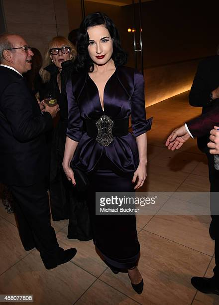 Model Dita Von Teese attends amfAR LA Inspiration Gala honoring Tom Ford at Milk Studios on October 29 2014 in Hollywood California