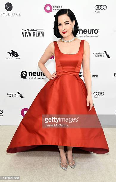 Model Dita Von Teese attends the 24th Annual Elton John AIDS Foundation's Oscar Viewing Party at The City of West Hollywood Park on February 28 2016...