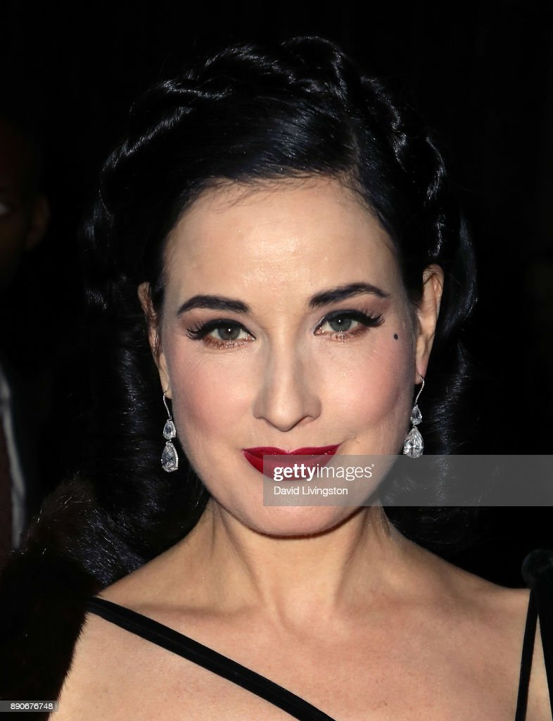 Model Dita Von Teese attends the American Ballet Theatre's annual holiday benefit dinner and performance at The Beverly Hilton Hotel on December 11, 2017 in Beverly Hills, California.