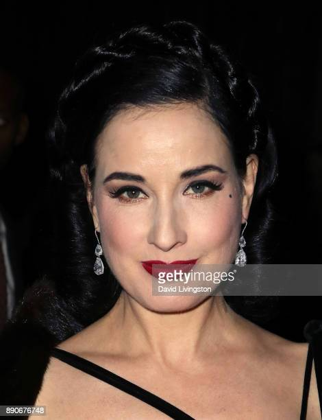 Model Dita Von Teese attends the American Ballet Theatre's annual holiday benefit dinner and performance at The Beverly Hilton Hotel on December 11...