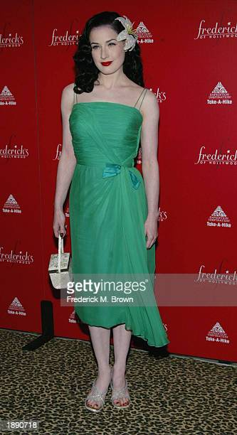 Model Dita Von Teese attends the Frederick's of Hollywood Fall 2003 fashion show and auction at Smashbox Studios April 1 2003 in Los Angeles...