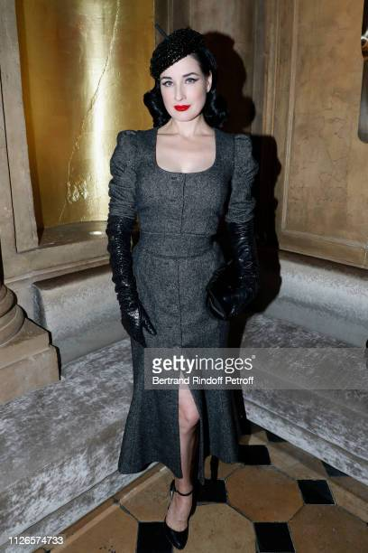 Model Dita von Teese attends the Party for the 200th Issue Numero, at Restaurant RAN on January 31, 2019 in Paris, France.