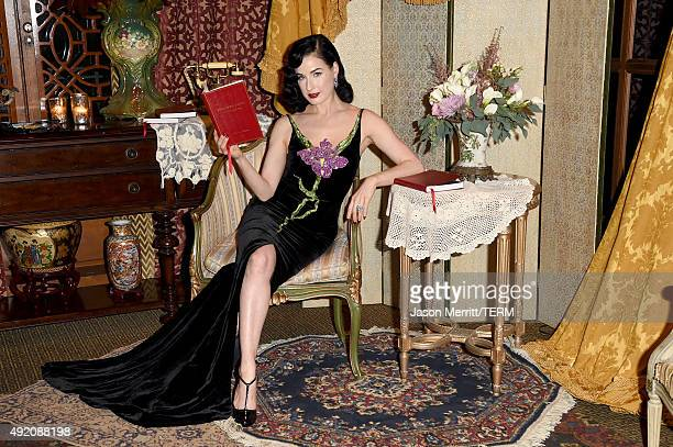 Model Dita Von Teese attends the Tiffany Co celebration of Liz Goldwyn's Sporting Guide book launch at The Los Angeles Athletic Club on October 9...