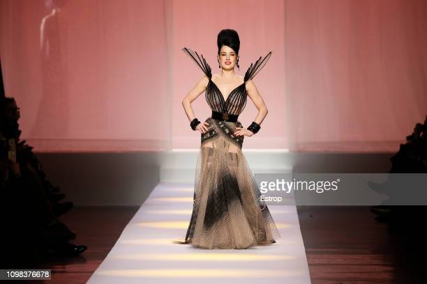 Model Dita Von Teese walks the runway during the JeanPaul Gaultier Spring Summer 2019 show as part of Paris Fashion Week on January 23 2019 in Paris...